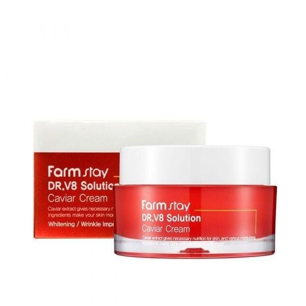 Антивозрастной крем для лица с экстрактом икры FARMSTAY Dr-V8 Solution Cream Caviar